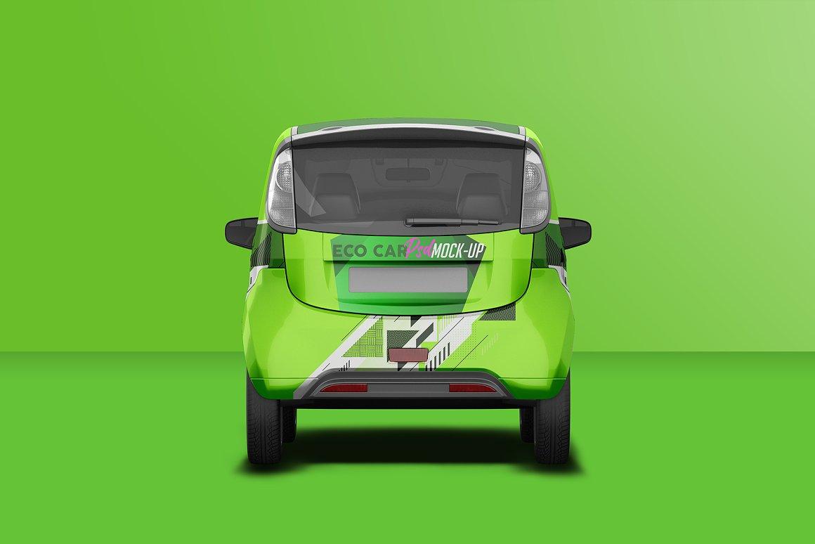 逼真电动小汽车车身广告设计PSD样机 Realistic Electric Car PSD Mockup插图4