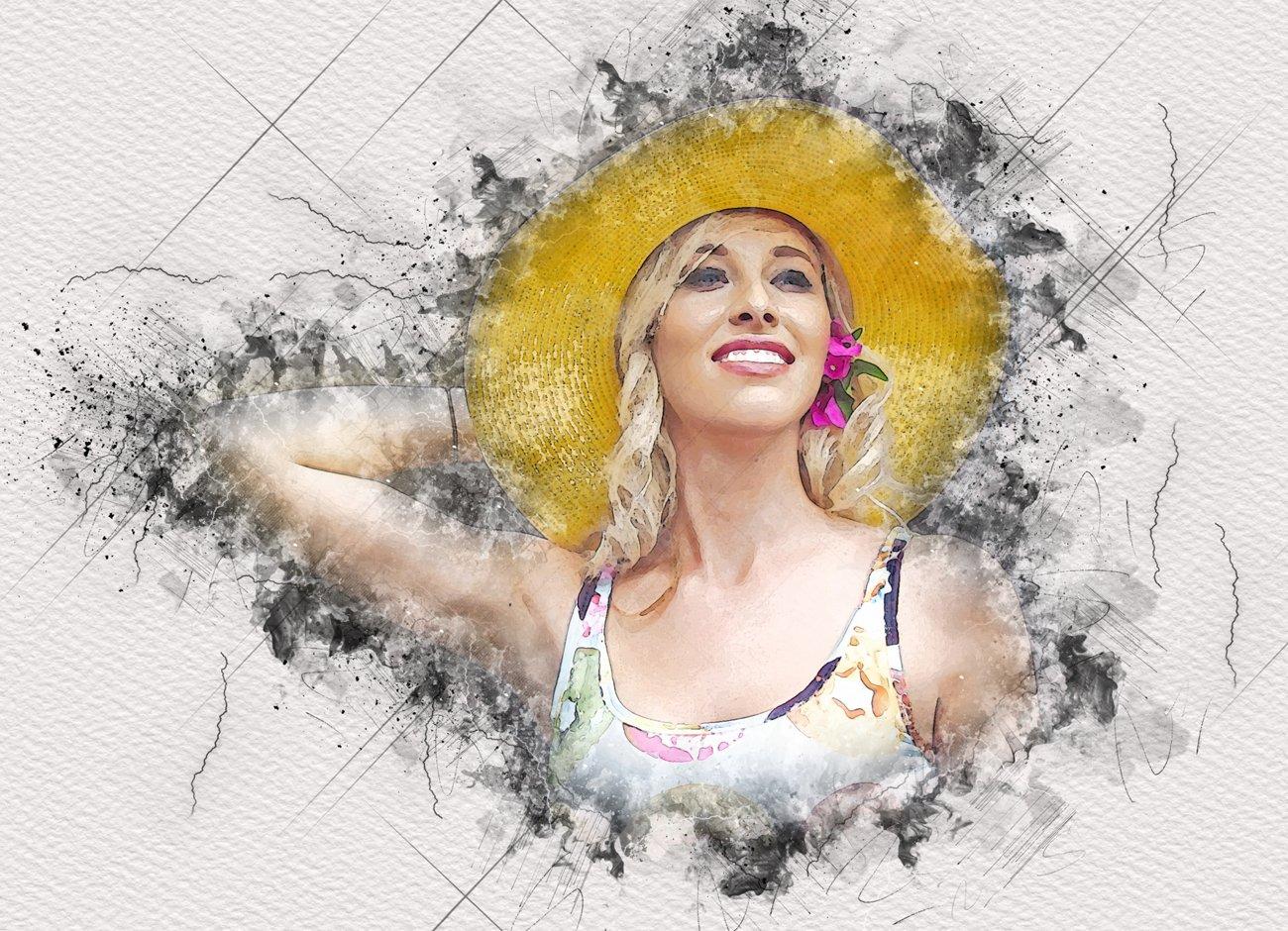 逼真水彩混合艺术效果照片处理滤镜PS动作模板 Mixed Media Art Photoshop Action插图4