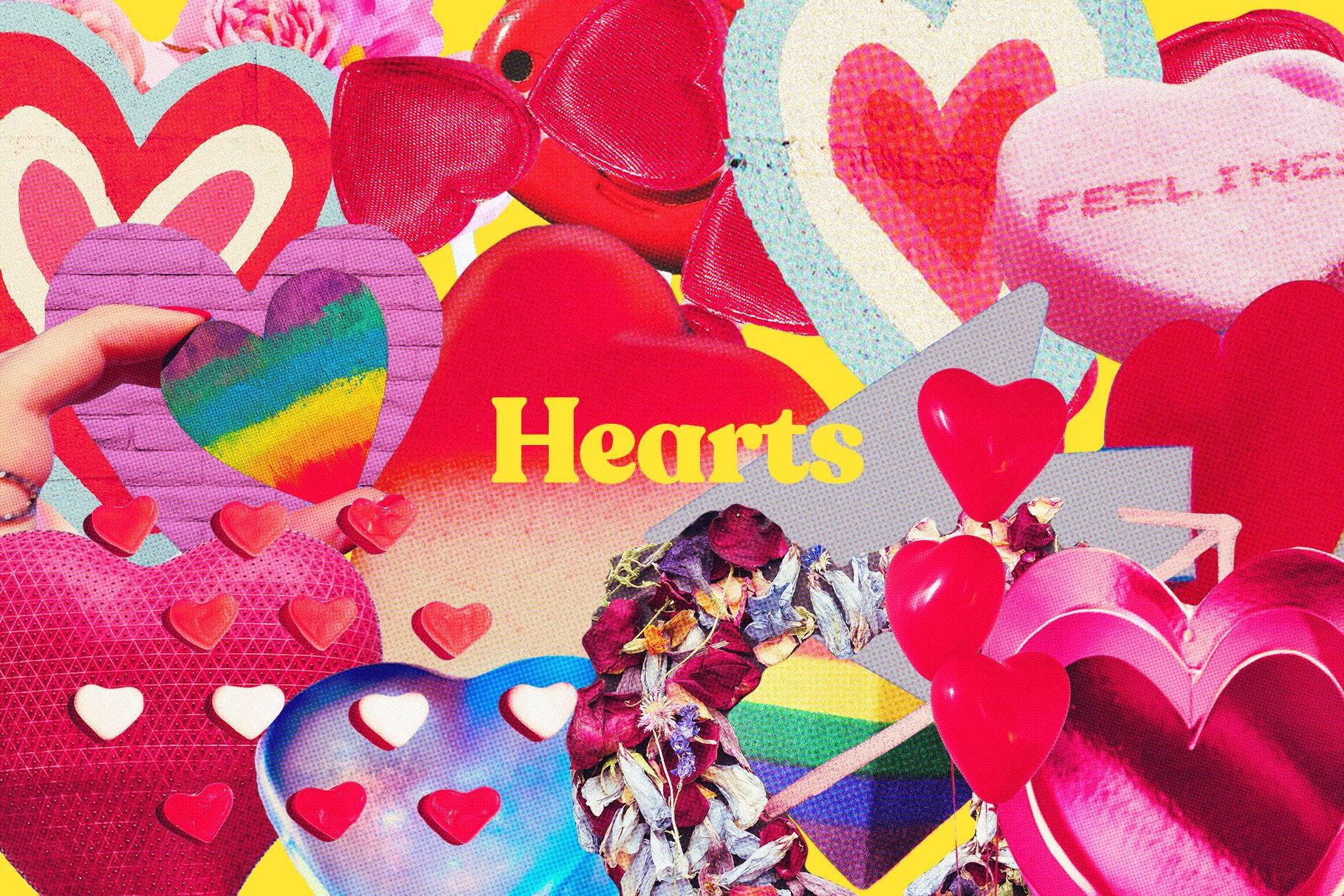 [单独购买] 47款情人节主题复古半调颗粒剪纸风格平面海报贺卡设计PS素材套装 Lovers Scrapbook – Valentines Cuts插图3
