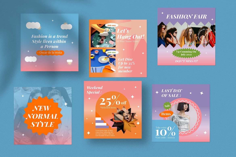 虹彩渐变背景品牌推广新媒体电商海报设计PSD模板合集 Cotton Rainbow Instagram Set插图3