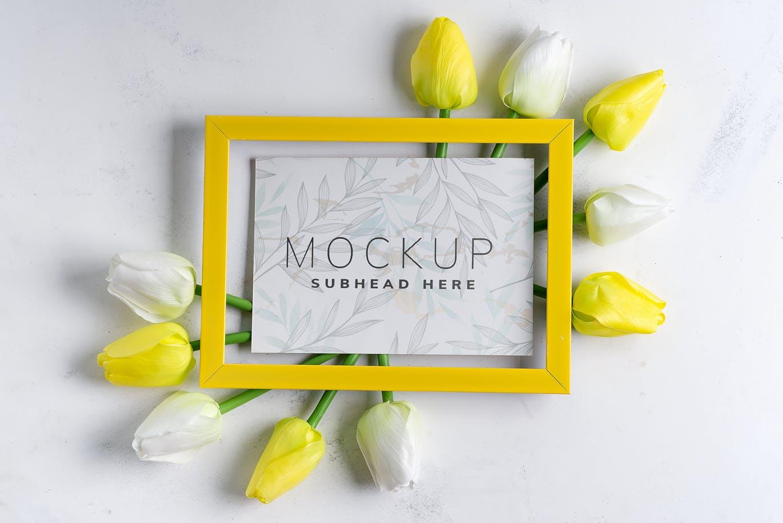 11个优雅婚礼印刷品场景样机PSD模板素材 Tulips Scene Mockup On Stone插图9