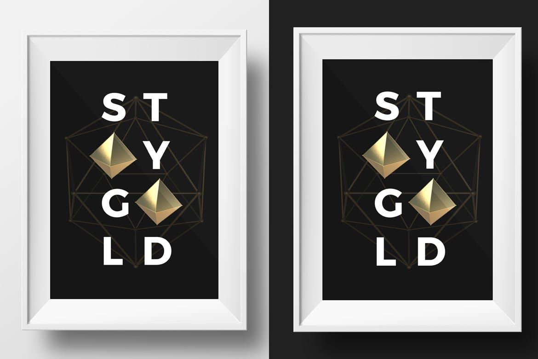35款抽象金色3D几何图形背景图片PS设计素材 3D Golden Shapes Volume 1插图3