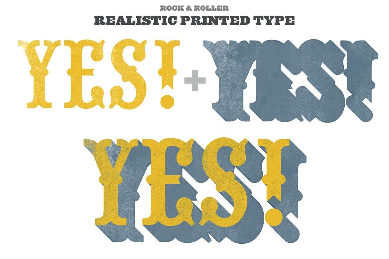 潮流复古做旧墨水套印浮雕效果标题海报设计PS素材套件 Rock And Roller Letterpress Kit插图3