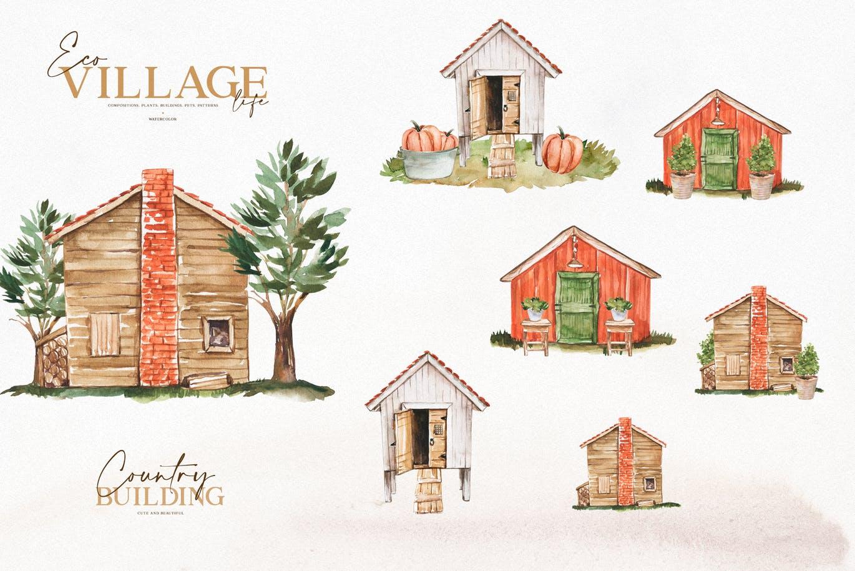 优雅感恩节主题农场动物植物手绘水彩画设计素材 Watercolor Eco Village插图3