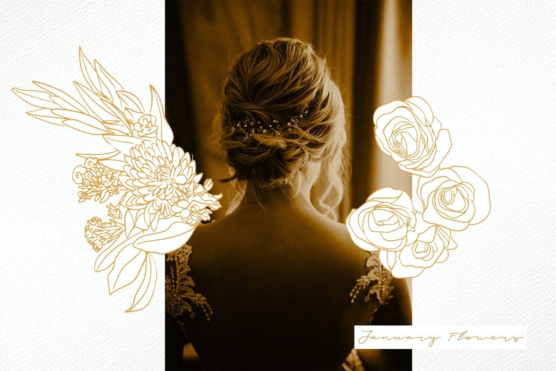 鲜花花卉手绘剪贴画印花图案矢量设计素材 January Flowers插图3