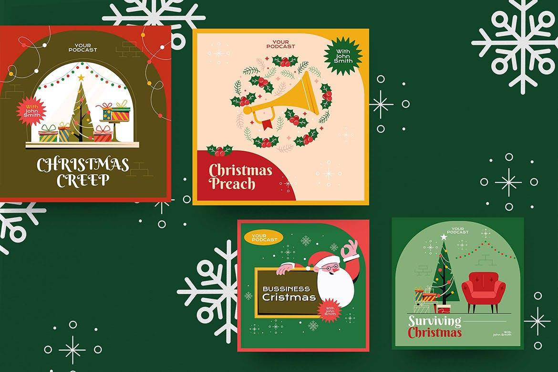 圣诞节主题品牌促销新媒体电商海报素材 Christmas Podcast Illustration插图3