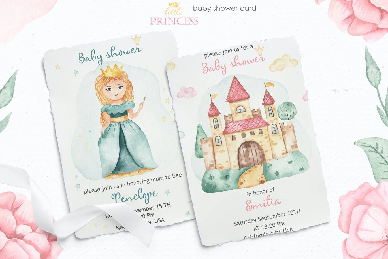 卡通女孩马车城堡彩虹手绘水彩画图片设计素材 Little Princess Watercolor插图3