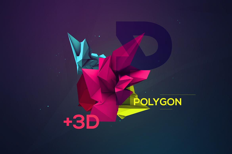 34款3D渲染抽象几何图形PNG透明图片素材 3D Geometric Polygon Renders插图3