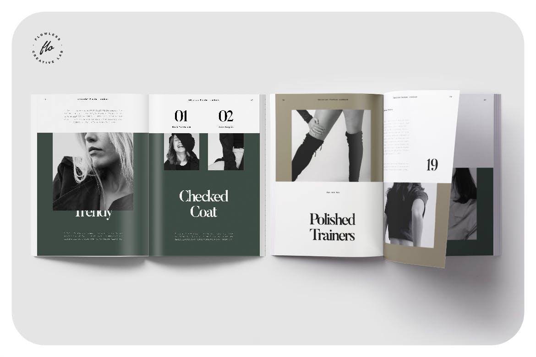 40页时尚服装作品集目录画册设计INDD模板 Forest Editorial Fashion Lookbook插图3