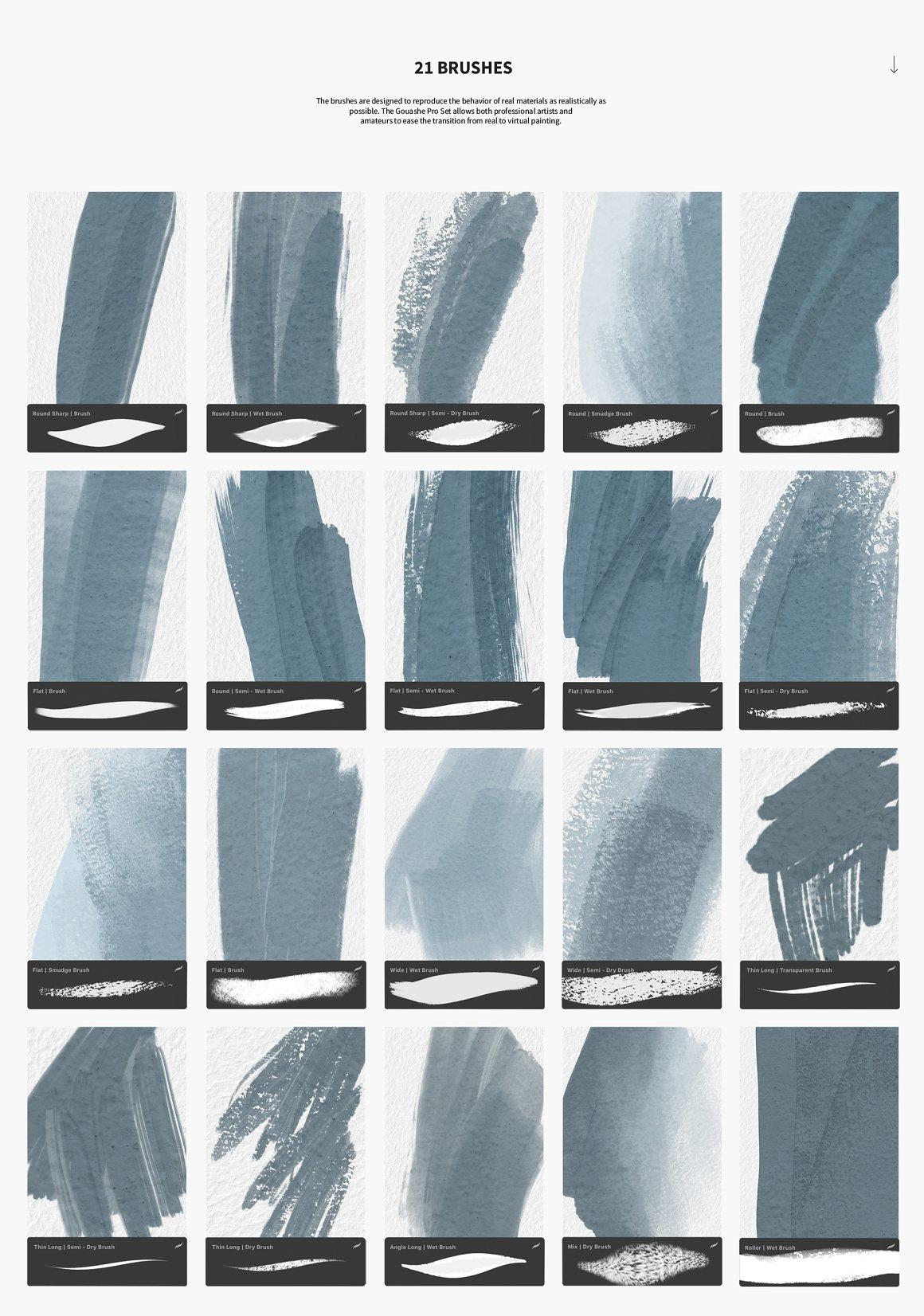 [单独购买] 21款水粉油画厚涂艺术绘画iPad Procreate笔刷素材 Gouache Pro Set For Procreate插图4
