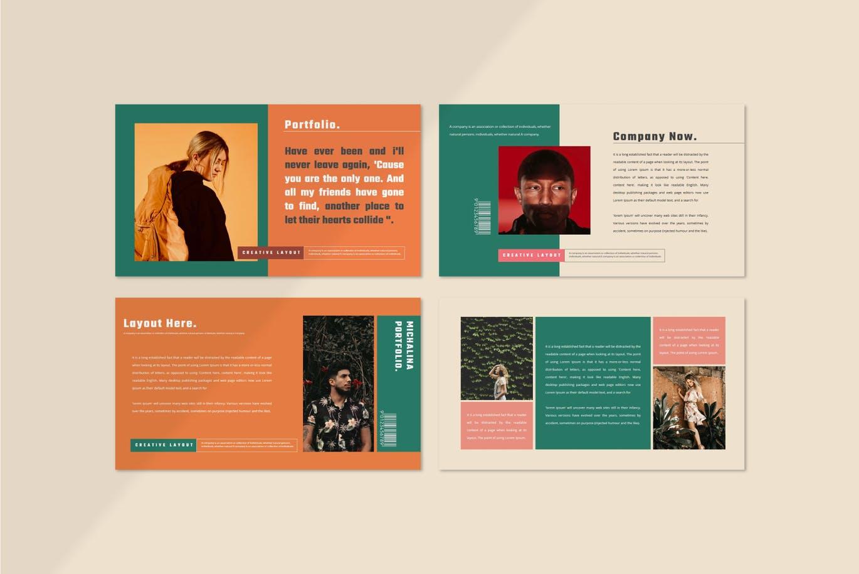 潮流撞色服装作品集演示文稿设计模板素材 MICHALINA Powerpoint Template插图3