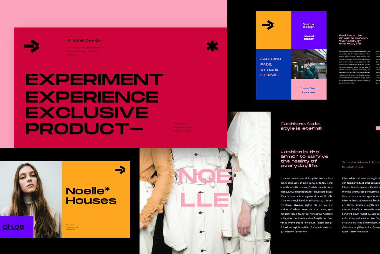 潮流炫彩服装作品集演示文稿设计模板 Noelle Powerpoint Template插图3
