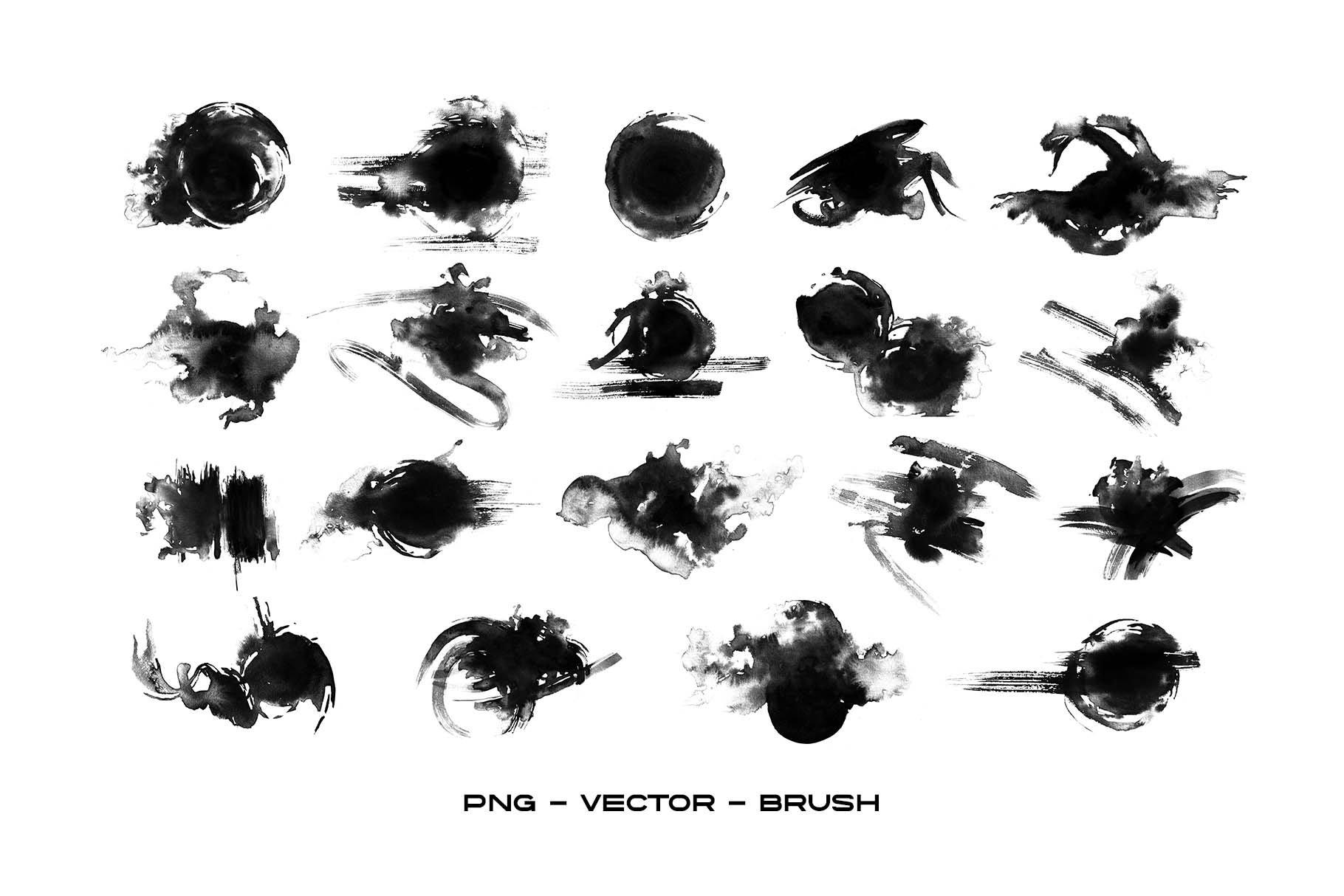 19款抽象中国风水墨毛笔笔刷背景纹理PNG图片设计素材 Ink Brush Stroke for Photo Overlay插图3