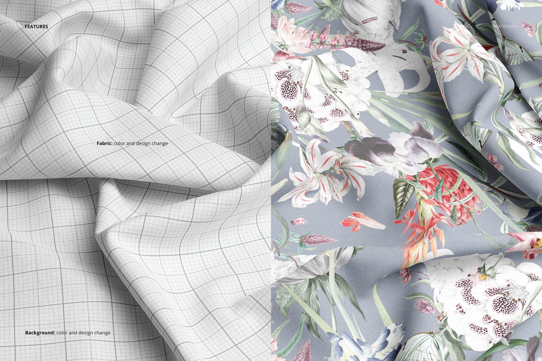 时尚棉料布印花图案设计展示样机合集 Cotton Closeup Mockup Set插图3
