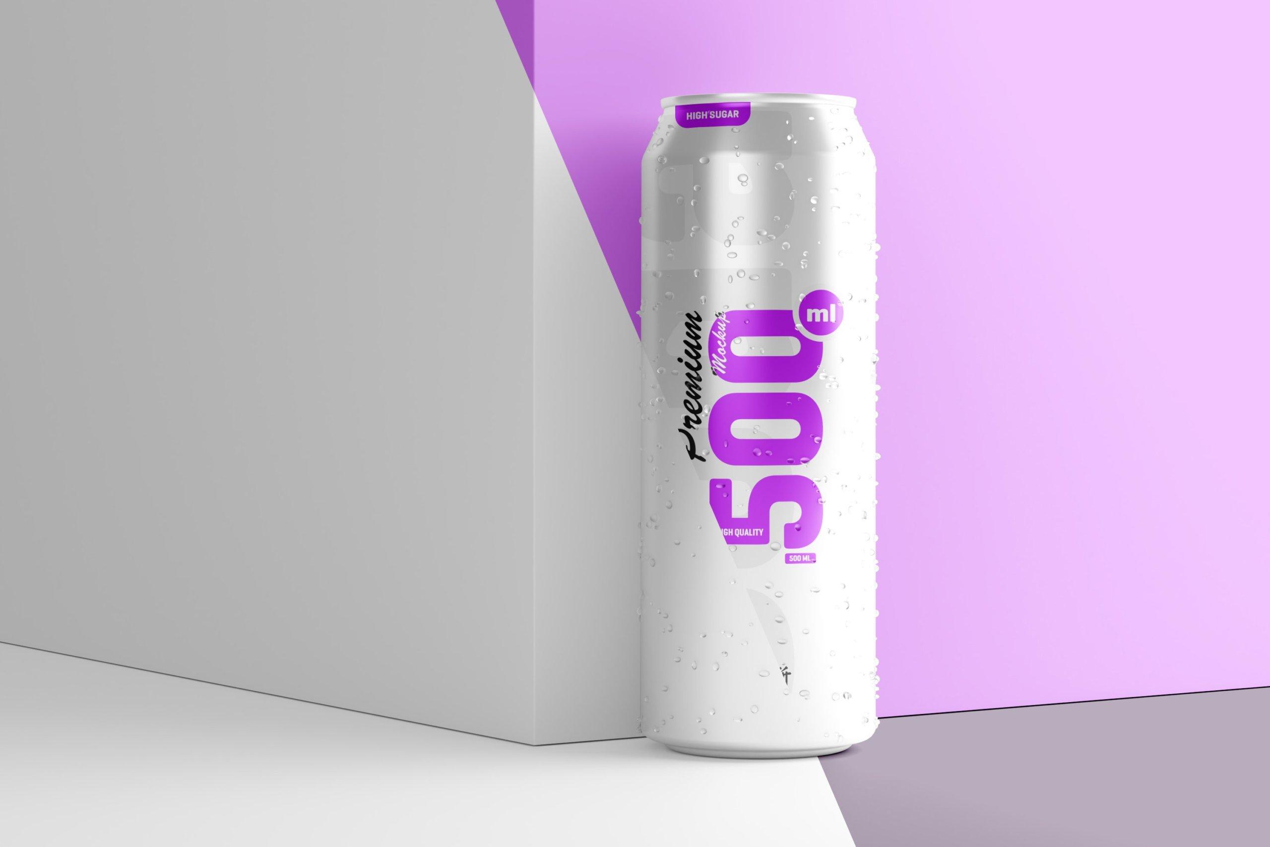 10款500毫升啤酒苏打水饮料锡罐易拉罐PS贴图样机素材 500ml Soda Can Mockup插图1
