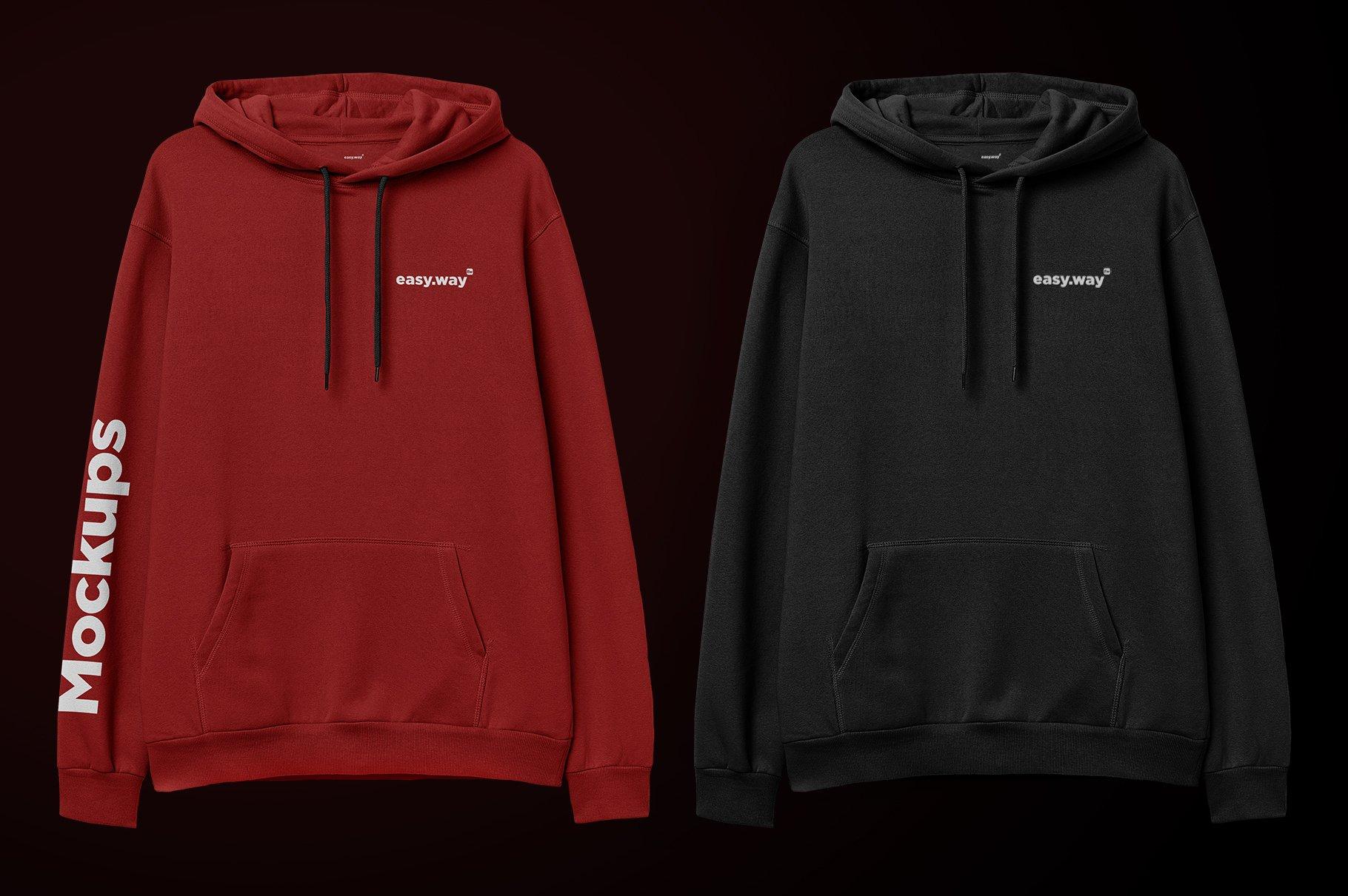 简约连衣帽卫衣印花图案设计展示样机PSD模板 Hooded Sweatshirt PSD Mockup插图4