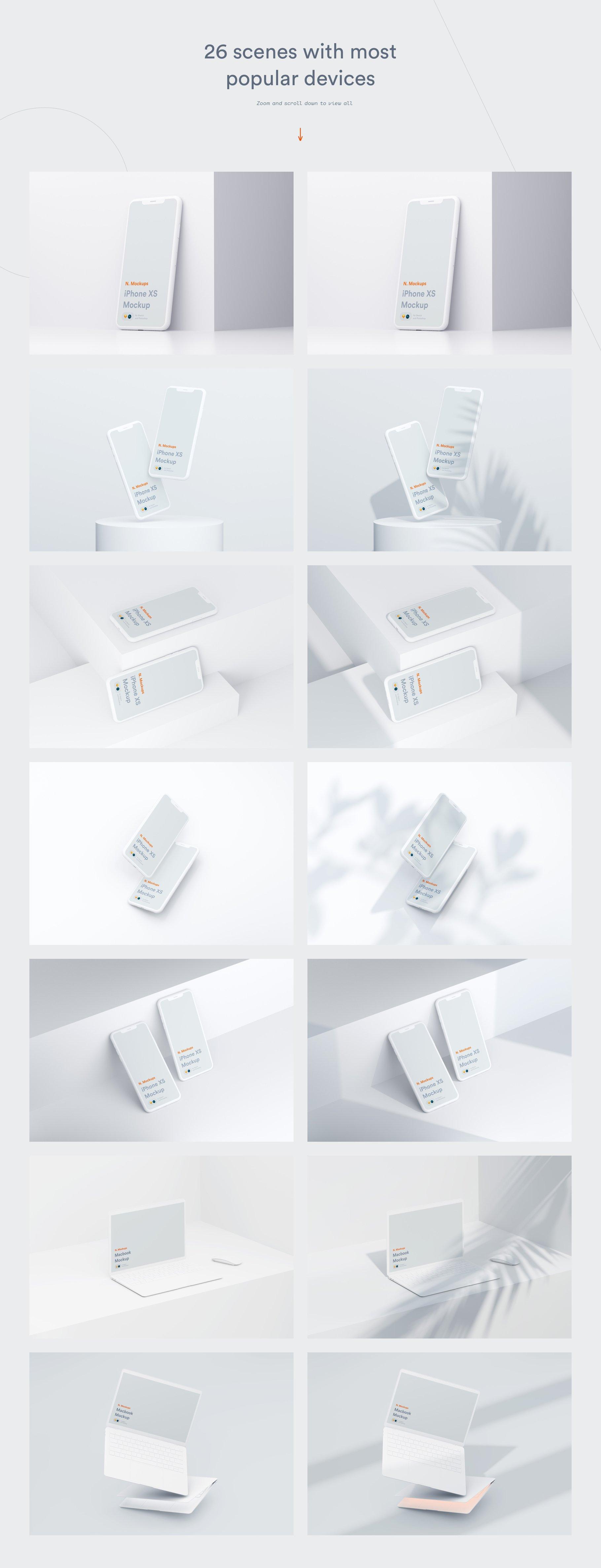 [单独购买] 超大网站APP设计陶瓷苹果设备屏幕演示样机模板素材套装 N.Mockups插图5