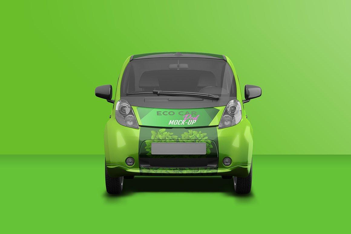 逼真电动小汽车车身广告设计PSD样机 Realistic Electric Car PSD Mockup插图3