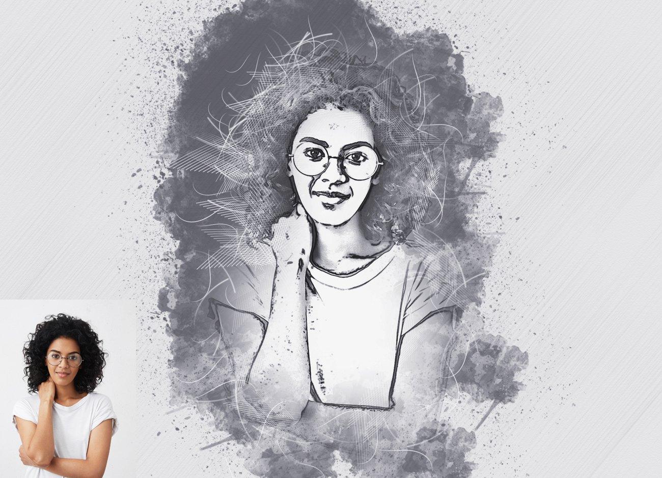 铅笔手绘素描效果照片处理特效PS动作模板 Hand Drawing Sketch Photoshop Action插图5