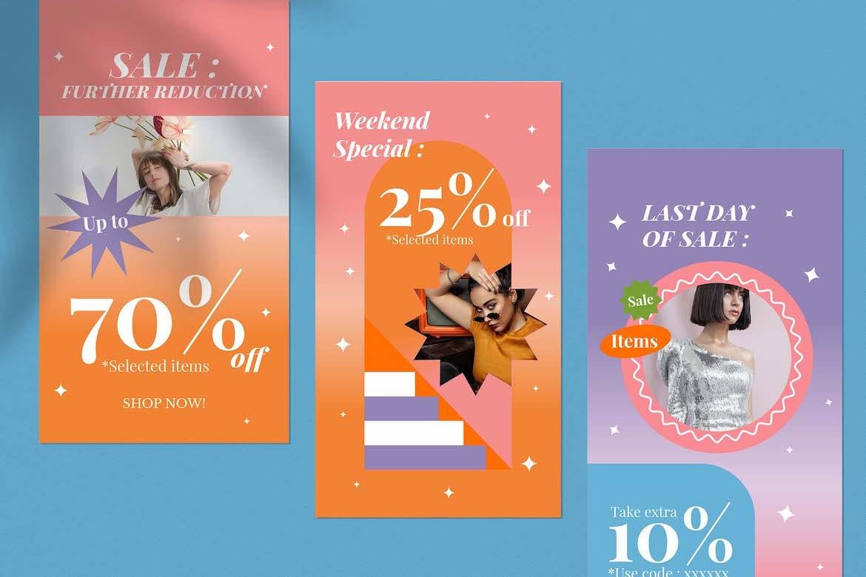虹彩渐变背景品牌推广新媒体电商海报设计PSD模板合集 Cotton Rainbow Instagram Set插图4
