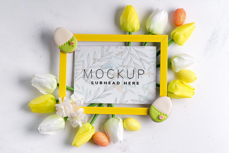 11个优雅婚礼印刷品场景样机PSD模板素材 Tulips Scene Mockup On Stone插图8