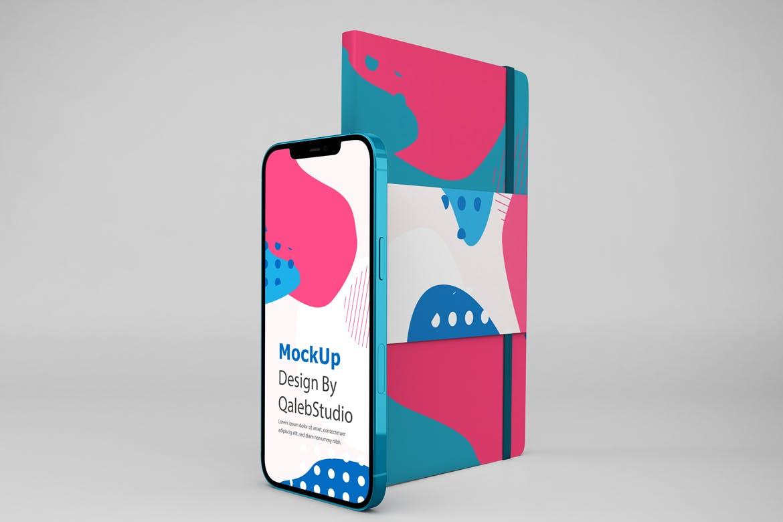 带笔记本iPhone 12屏幕演示样机模板素材 NoteBook & iPhone 12插图4