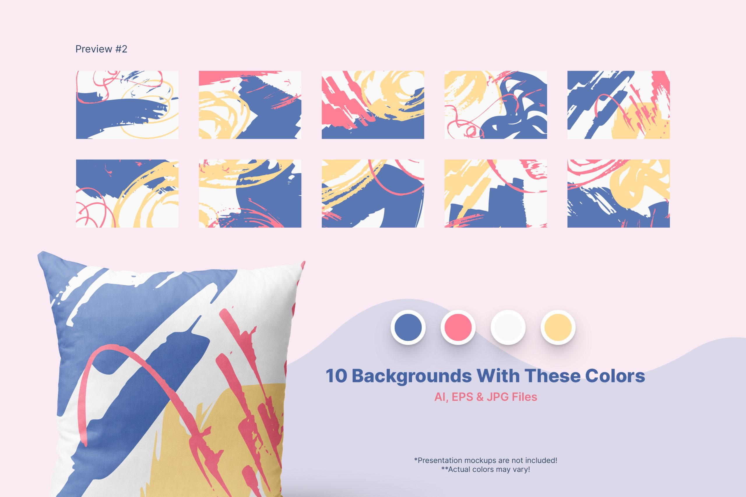 粗糙水墨毛笔笔触纹理海报设计背景图片矢量设计素材 Distressed Vector Backgrounds插图4