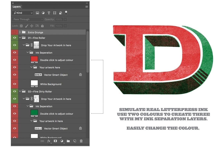 潮流复古做旧墨水套印浮雕效果标题海报设计PS素材套件 Rock And Roller Letterpress Kit插图4