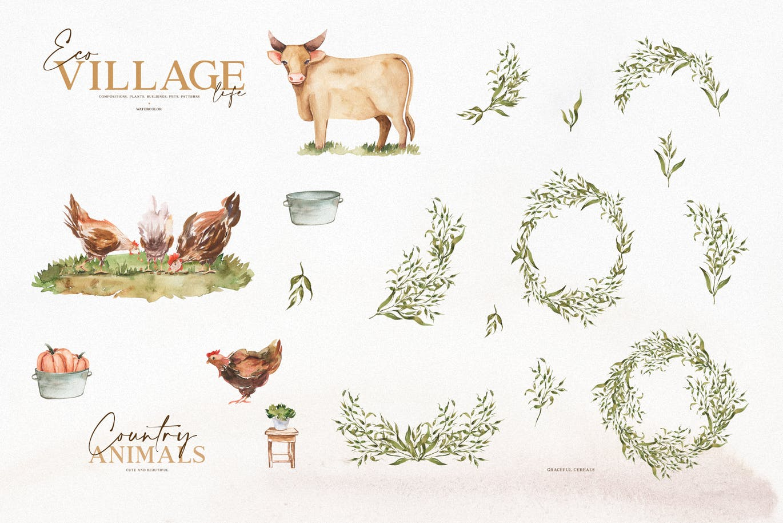 优雅感恩节主题农场动物植物手绘水彩画设计素材 Watercolor Eco Village插图4