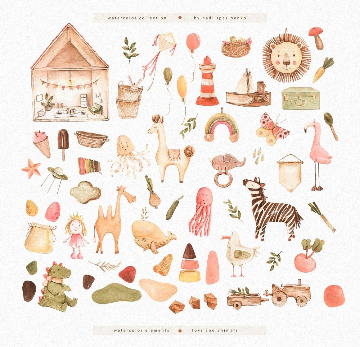波西米亚风玩具手绘水彩画PNG透明背景图片素材 Watercolor World Of Toys插图4