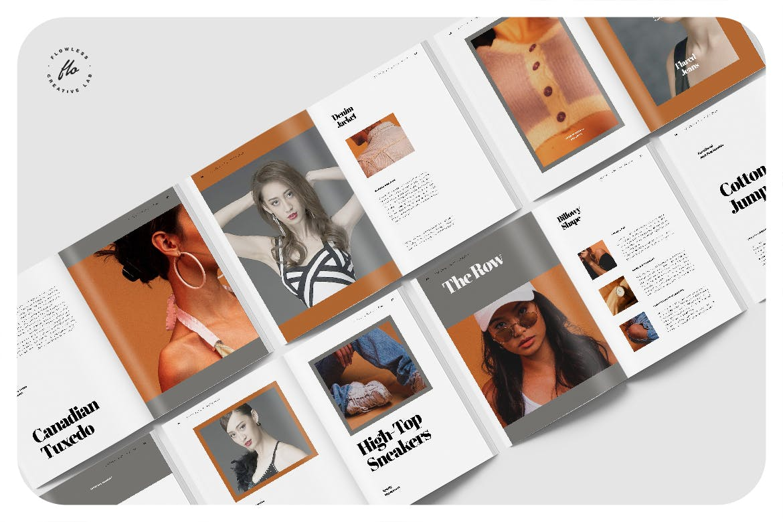 极简女性服装设计作品集排版INDD画册模板 Palateas Editorial Fashion Lookbook插图4
