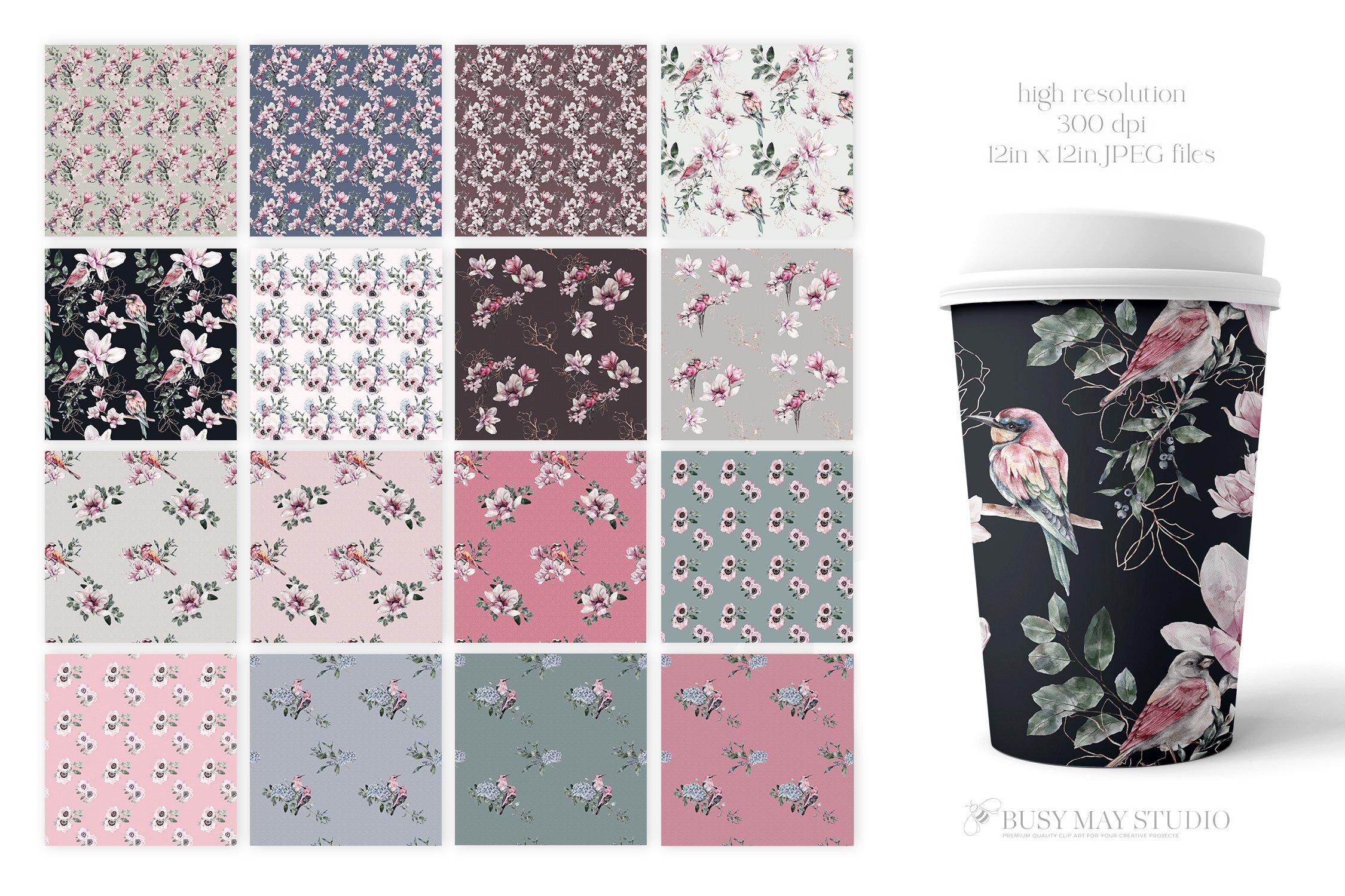 16款春天叶子花卉小鸟手绘水彩画图片设计素材 Spring Watercolor Seamless Patterns插图3