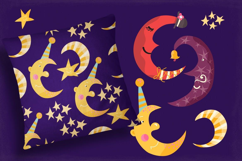 卡通太阳月亮星星印花图案设计矢量素材 Sun Stars and Moon插图