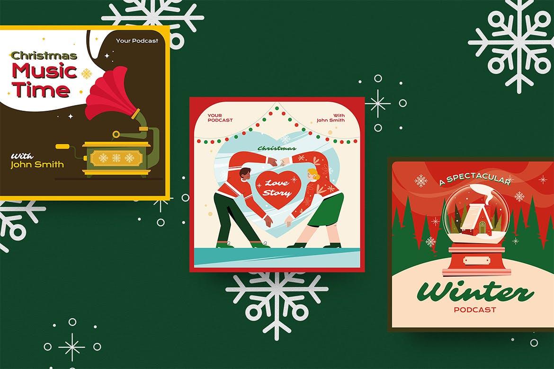 圣诞节主题品牌促销新媒体电商海报素材 Christmas Podcast Illustration插图4