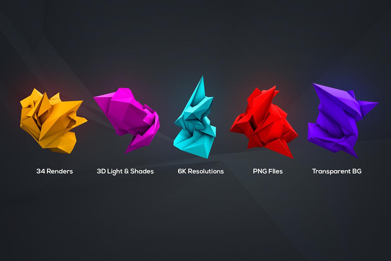 34款3D渲染抽象几何图形PNG透明图片素材 3D Geometric Polygon Renders插图4