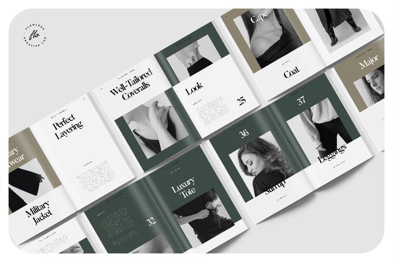 40页时尚服装作品集目录画册设计INDD模板 Forest Editorial Fashion Lookbook插图4