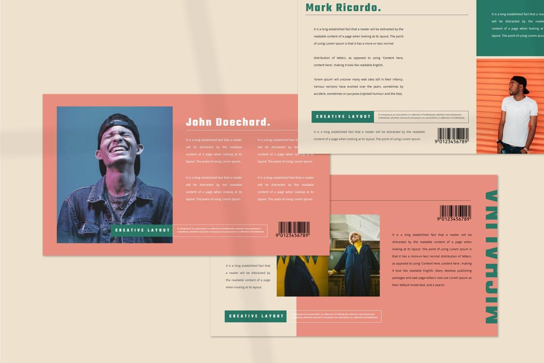 潮流撞色服装作品集演示文稿设计模板素材 MICHALINA Powerpoint Template插图4