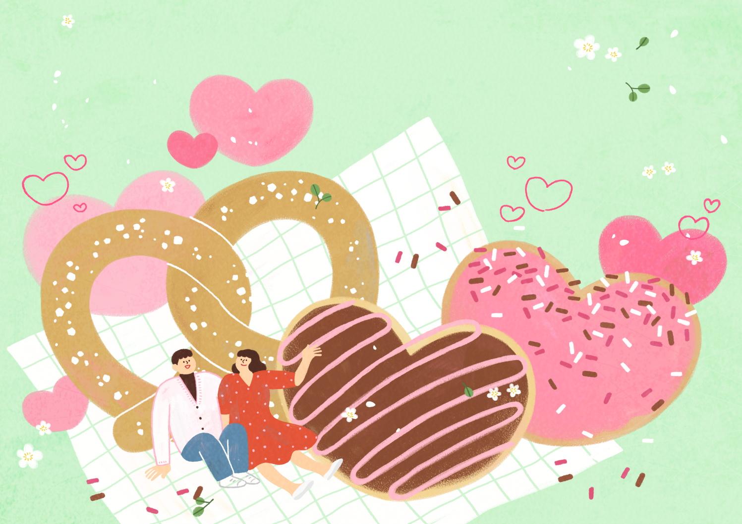12款情人节七夕情侣手绘插画海报传单设计PSD素材 Valentines Day Couple Hand Drawn Illustration插图6