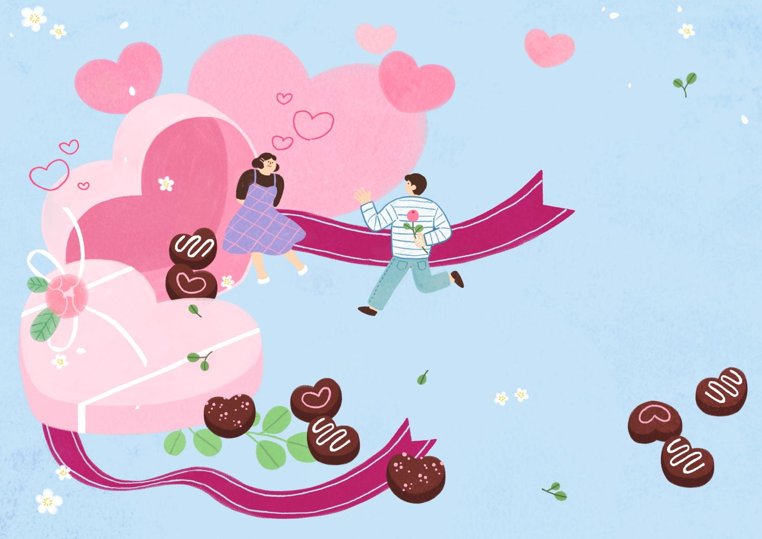 12款情人节七夕情侣手绘插画海报传单设计PSD素材 Valentines Day Couple Hand Drawn Illustration插图7