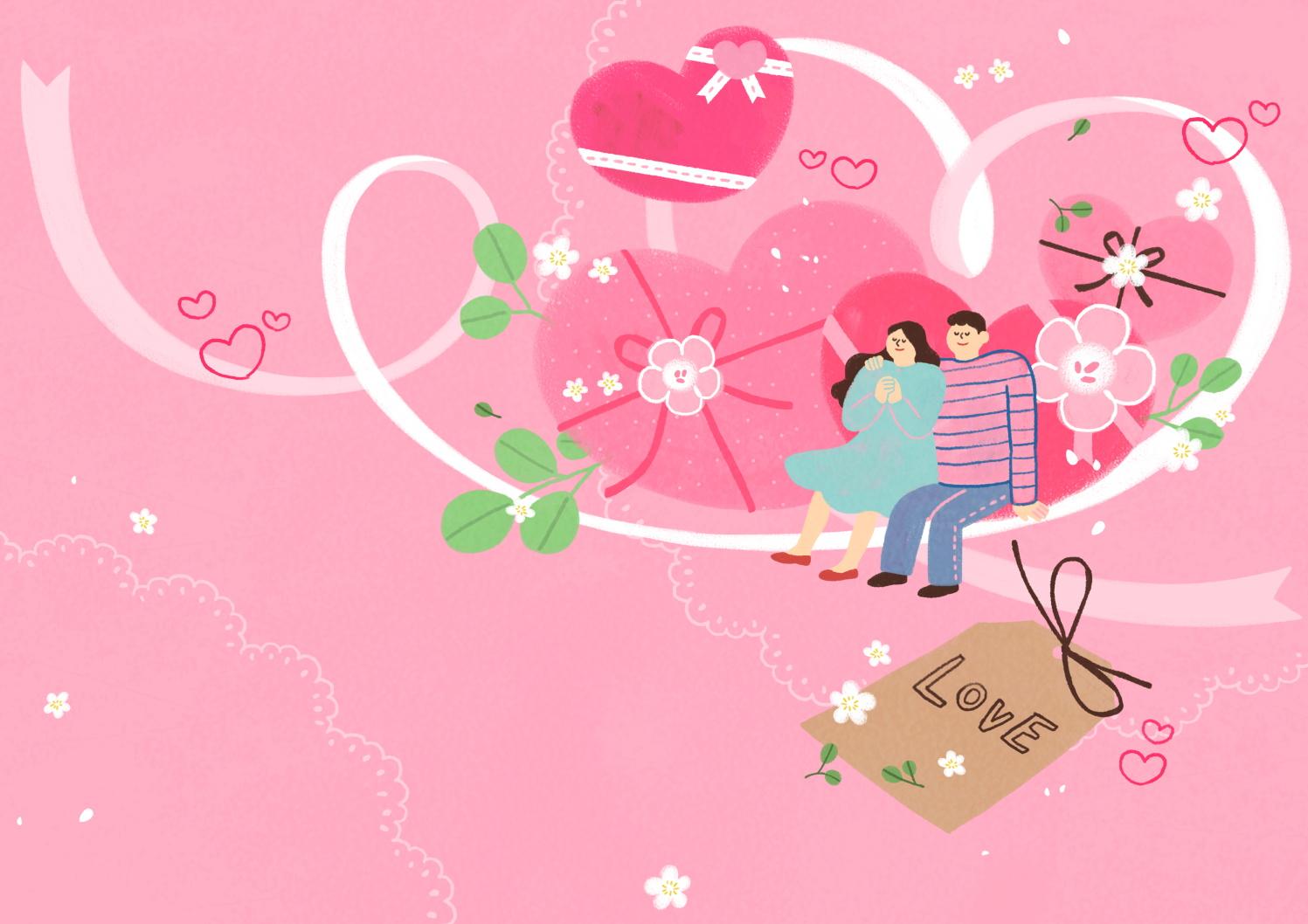 12款情人节七夕情侣手绘插画海报传单设计PSD素材 Valentines Day Couple Hand Drawn Illustration插图8