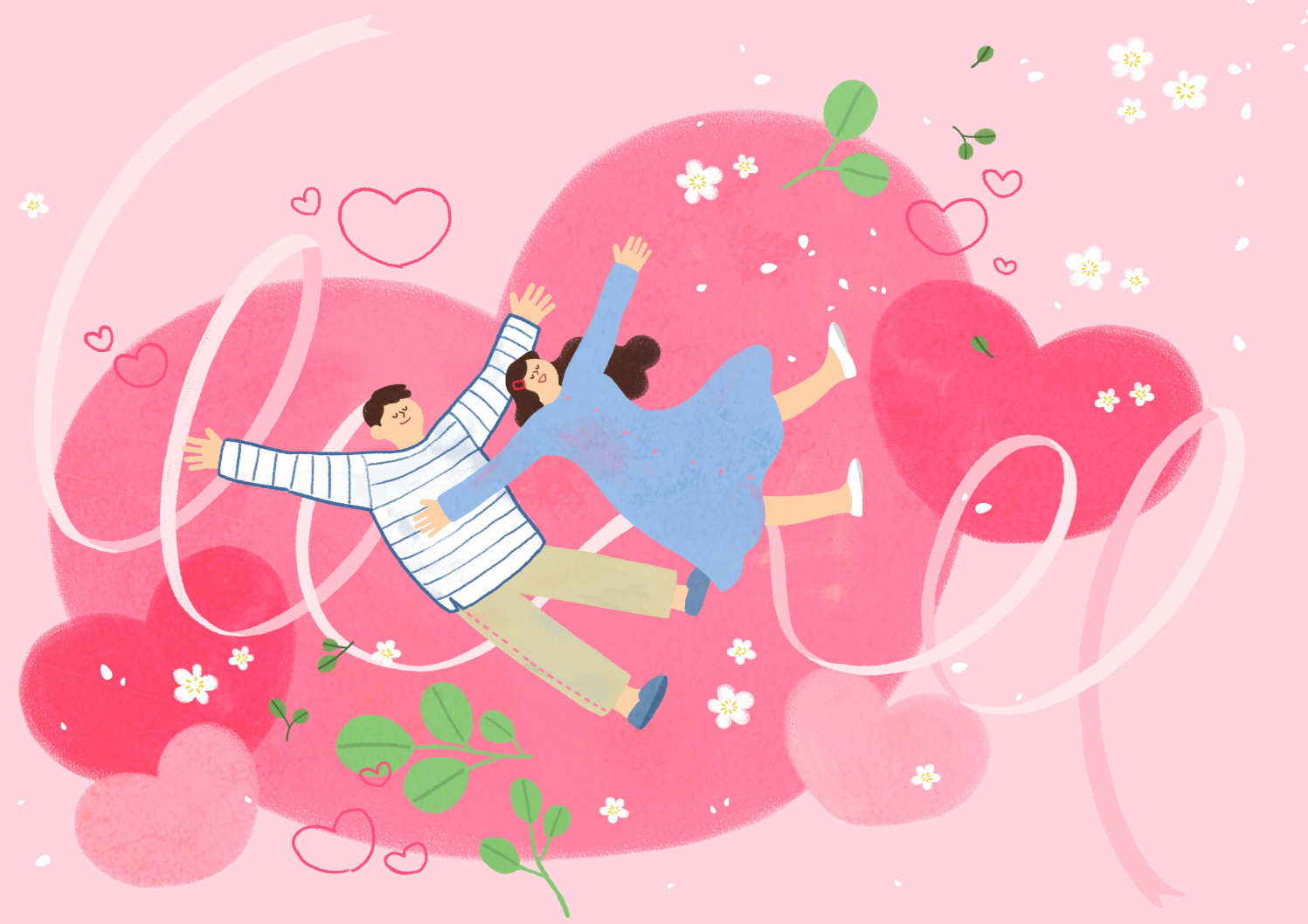 12款情人节七夕情侣手绘插画海报传单设计PSD素材 Valentines Day Couple Hand Drawn Illustration插图10