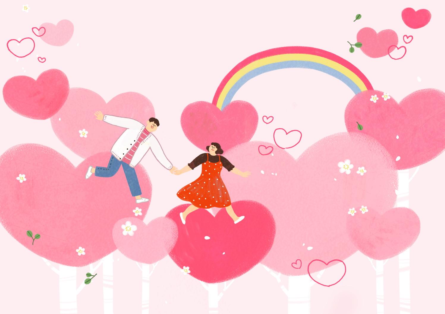 12款情人节七夕情侣手绘插画海报传单设计PSD素材 Valentines Day Couple Hand Drawn Illustration插图11