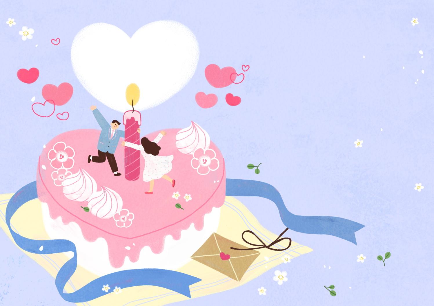 12款情人节七夕情侣手绘插画海报传单设计PSD素材 Valentines Day Couple Hand Drawn Illustration插图