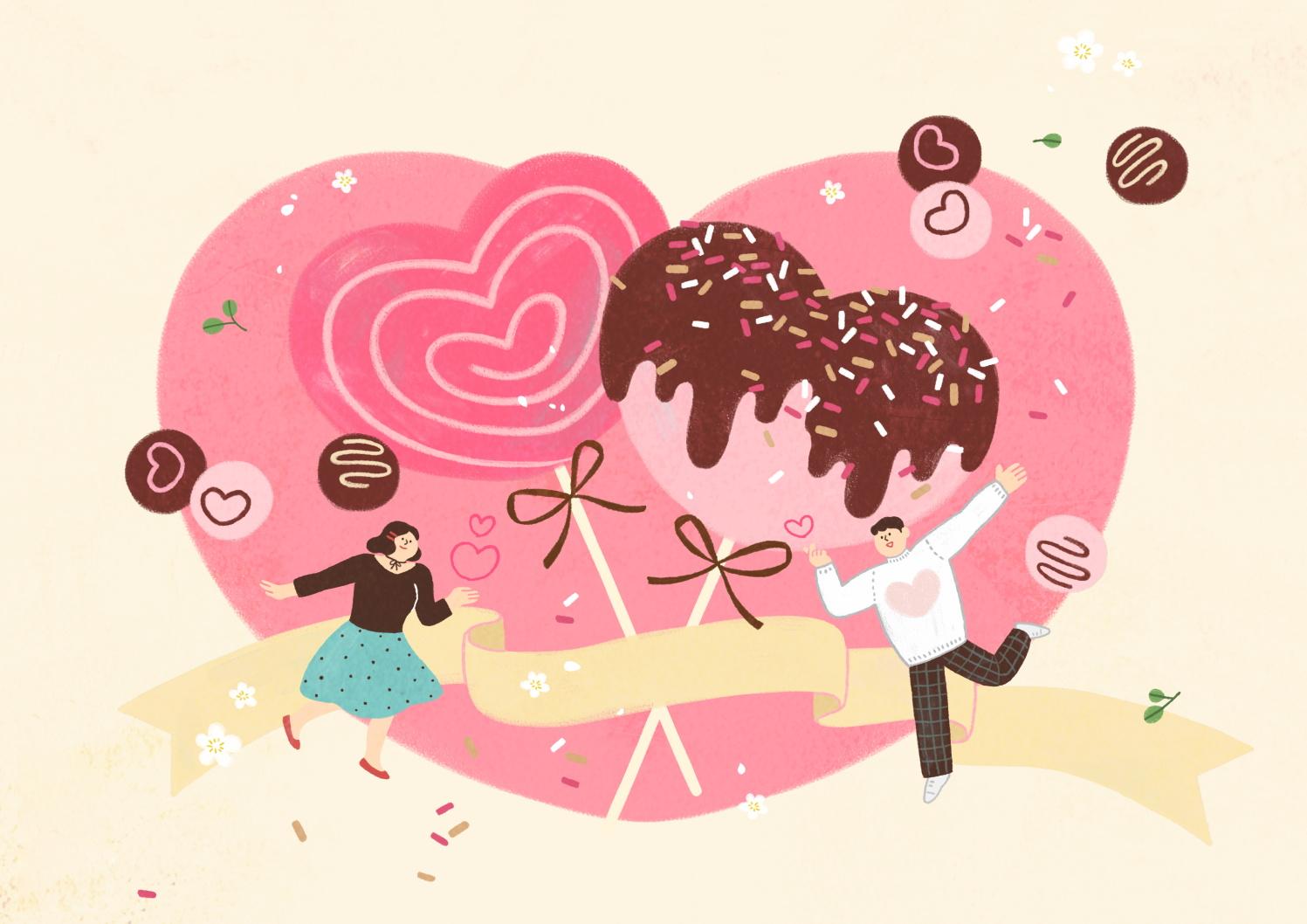 12款情人节七夕情侣手绘插画海报传单设计PSD素材 Valentines Day Couple Hand Drawn Illustration插图1