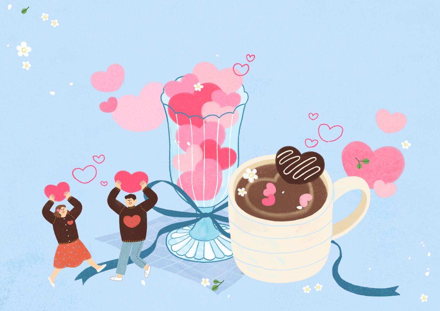 12款情人节七夕情侣手绘插画海报传单设计PSD素材 Valentines Day Couple Hand Drawn Illustration插图4