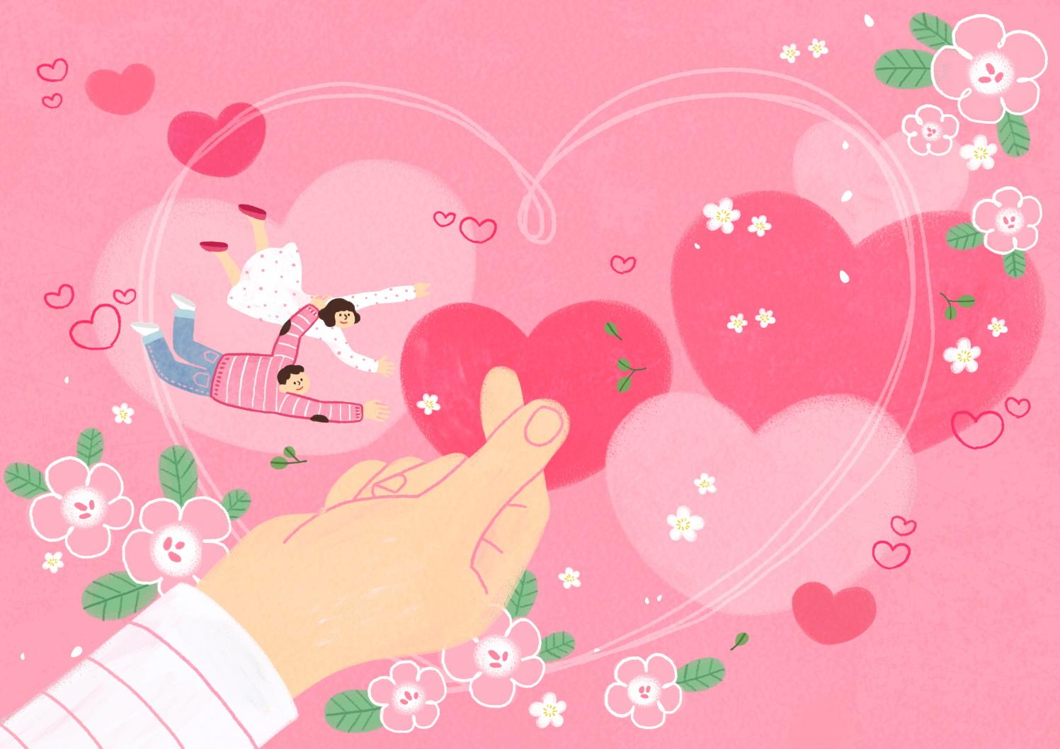 12款情人节七夕情侣手绘插画海报传单设计PSD素材 Valentines Day Couple Hand Drawn Illustration插图5