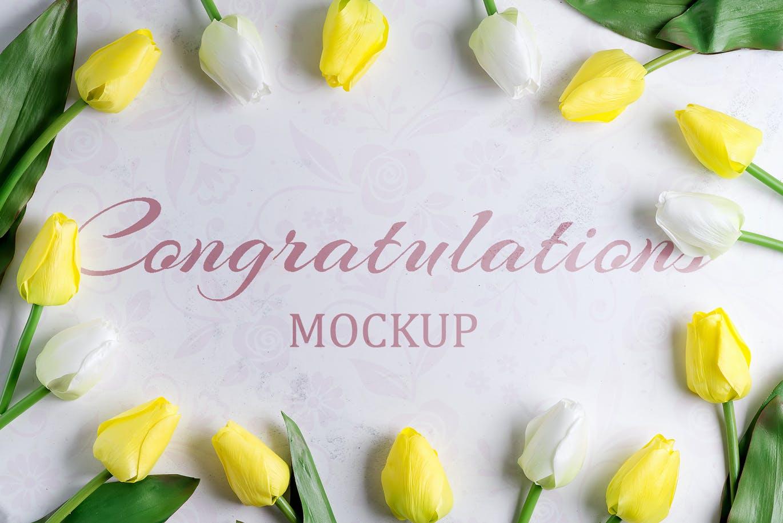 11个优雅婚礼印刷品场景样机PSD模板素材 Tulips Scene Mockup On Stone插图7