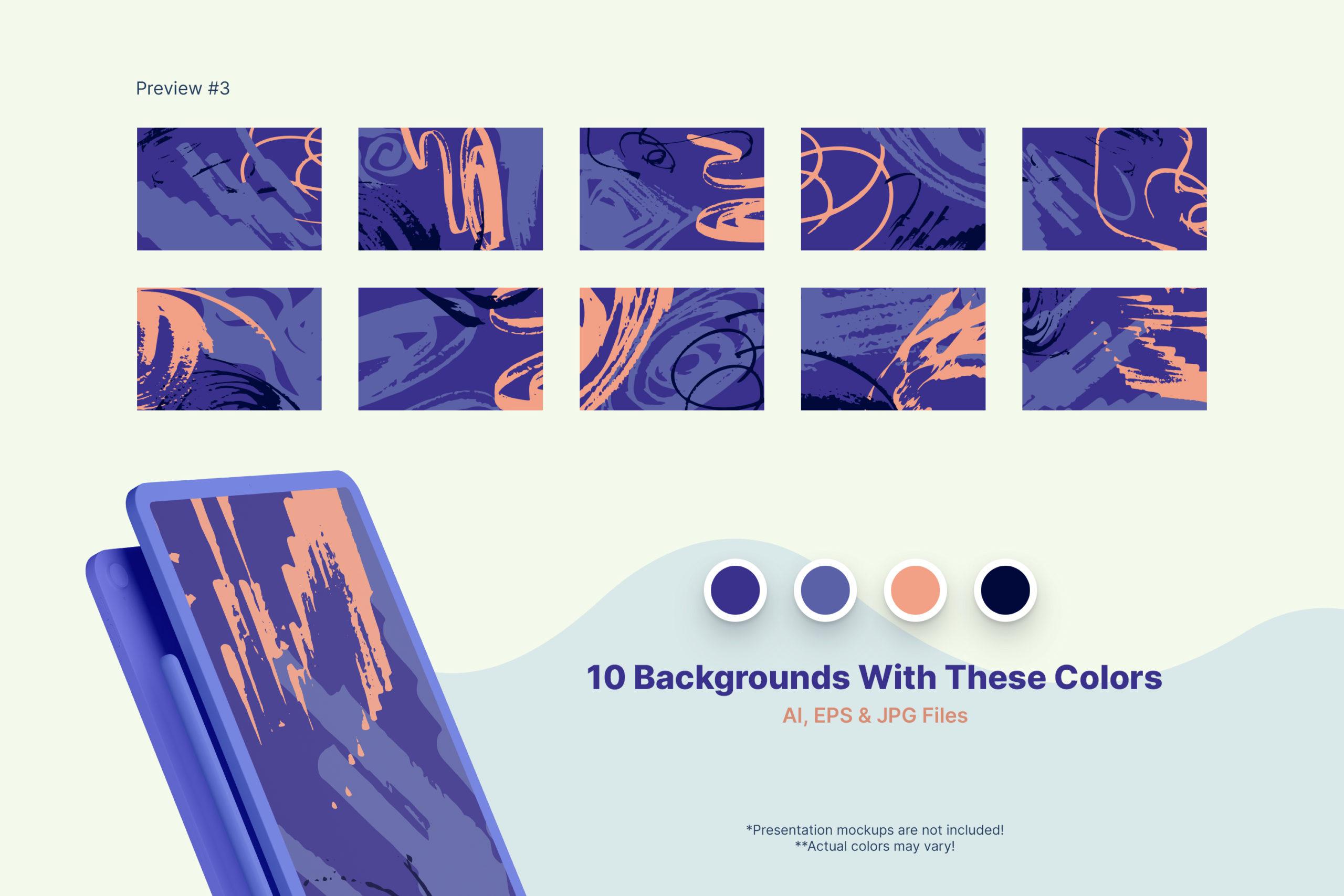 粗糙水墨毛笔笔触纹理海报设计背景图片矢量设计素材 Distressed Vector Backgrounds插图5