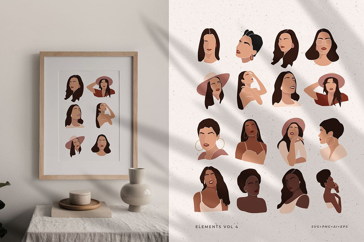 160多款现代抽象女性插图几何图案矢量设计素材 Modern Abstract Illustrations插图5