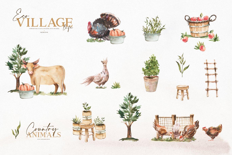优雅感恩节主题农场动物植物手绘水彩画设计素材 Watercolor Eco Village插图5